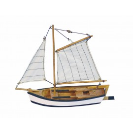 Wooden fishing boat with sails, L: 25cm, H: 23cm