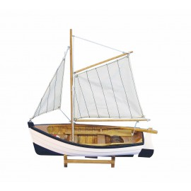Wooden fishing boat with sails