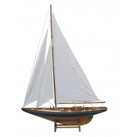 Sailing yacht, wood with cloth sails, L: 75, H: 112cm