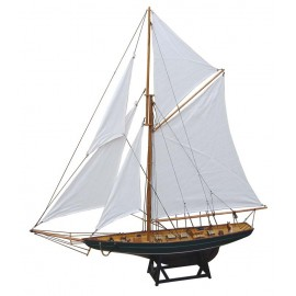 Sailing yacht, wood with cloth sails, L: 85cm, H: 92,5cm