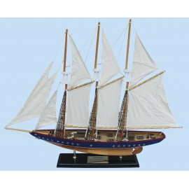 Sailing ship - Atlantic, wood with cloth sails, with brass name plate, L: 71cm, H: 56cm