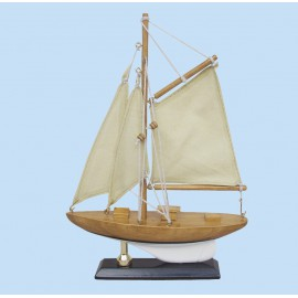 Sailing yacht, wood with cloth sails, L: 15cm, H: 22,5cm