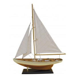 Sailing yacht, wood with cloth sails, L: 40cm, H: 54cm