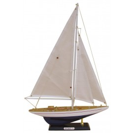 Sailing yacht - ENTERPRISE, wood with cloth sails, L: 32cm, H: 49cm