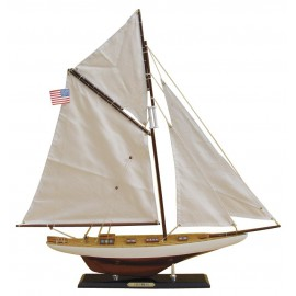 Sailing yacht - COLUMBIA, wood with cloth sails, L: 59cm, H: 60cm