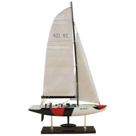 America's Cup Yacht - NEW ZEALAND, wood with cloth sails, L: 45cm, H: 76cm