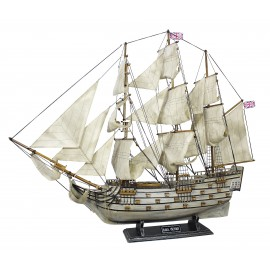 Sailing ship - H.M.S.Victory, wood with cloth sails, L: 86cm, H: 74cm - totally in old finish