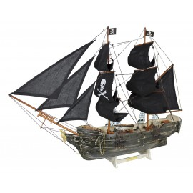 Pirate ship, wood with cloth sails, L: 78cm, H: 60cm - in old finish