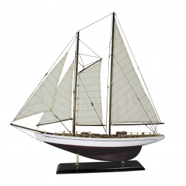 Sailing-yacht, wood with cloth sails, L: 71cm, H: 74cm