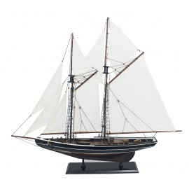 Sailing yacht - Bluenose, wood with cloth sails, L: 74cm, H: 66cm