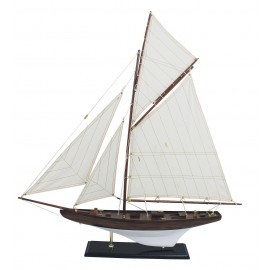 Sailing-yacht, wood with cloth sails, L: 70cm, H: 72,5cm