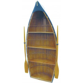 Boat shelf, wood, parts painted, 4 cases, 135x56x30cm