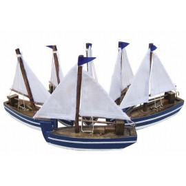 Sailing boats, wood with cloth sails, L: 10cm, set of 6pcs
