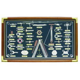 Knot board behind glass, wood/brass, 73x43cm - knot names in FRENCH language