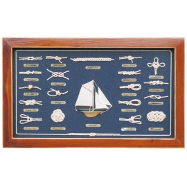 Knot board behind glass, wood, 51x31cm - knot names in GERMAN language