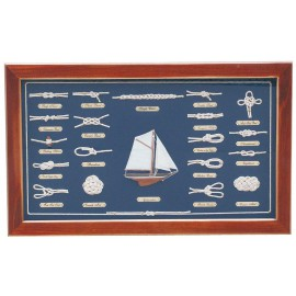 Knot board behind glass, wood, 51x31cm - knot names in ENGLISH language