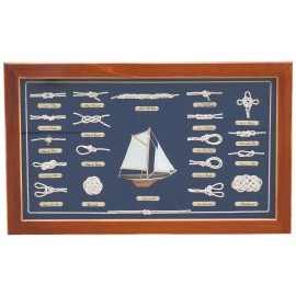 Knot board behind glass, wood, 51x31cm - knot names in FRENCH language