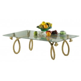 Table - Rope, with glass plate, H: 37,5cm, 120x75cm