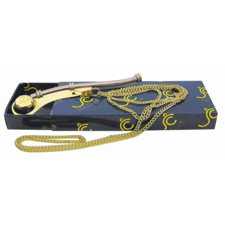 Boatswain's whistle with chain, brass/copper, L: 12cm, in SEA-CLUB paper gift box