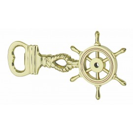 Bottle opener - Steering wheel, brass with copper ring, 15cm