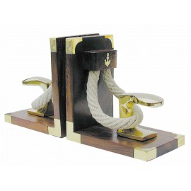 Bookends - Bollard & Rope, wood/brass, 1 pair, 31x16x9,5cm