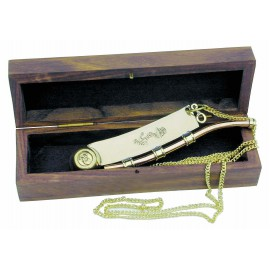 Boatswain's whistle with chain, anchor engraved, brass/copper, 12,5cm, in wooden box