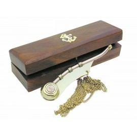 Boatswain's whistle with chain, brass/copper, L: 12,5cm, in wooden box