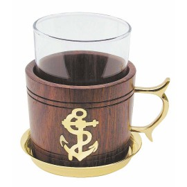 Wooden grog glass with brass coaster, H: 10cm