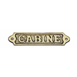 Door name plate - CABINE, brass, 14,5x3,5cm