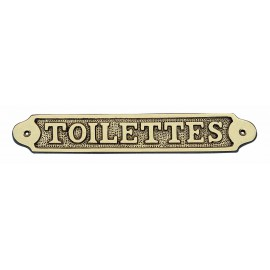 Door name plate - TOILETTES, brass, 21,5x3,5cm