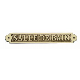 Door name plate - SALLE DE BAIN, brass, 25x3,5cm