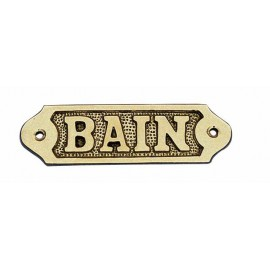 Door name plate - BAIN, brass, 11x3,5cm
