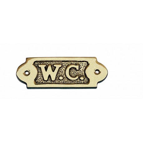 Door name plate - W.C., brass, 9x3,5cm