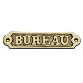 Door name plate - BUREAU, brass, 14,5x3,5cm