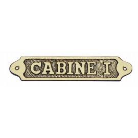 Door name plate - CABINE I, brass, 18,5x3,5cm