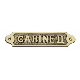 Door name plate - CABINE II, brass, 18,5x3,5cm