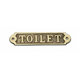 Door name plate - TOILET, brass, 15x3,5cm