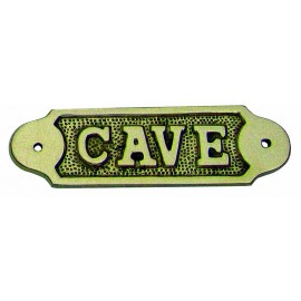 Door name plate - CAVE, brass, 12,5x3,5cm