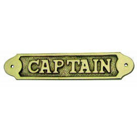 Door name plate - CAPTAIN, brass, 16x3,5cm