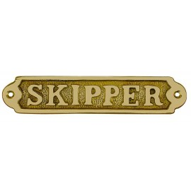 Door name plate - SKIPPER, brass, 17x3,5cm