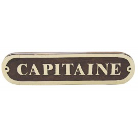 Door name plate - CAPITAINE, wood/brass, 20x5cm