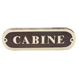 Door name plate - CABINE, wood/brass, 16,5x5cm