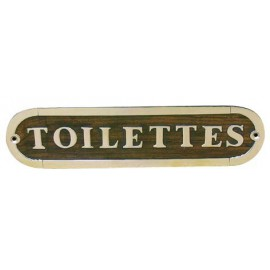 Door name plate - TOILETTES, wood/brass, 21x5cm