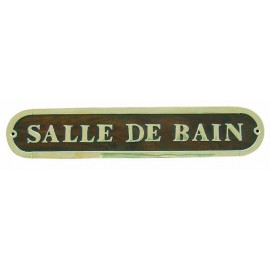 Door name plate - SALLE DE BAIN, wood/brass, 27x5cm