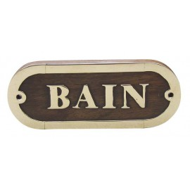 Door name plate - BAIN, wood/brass, 12,5x5cm