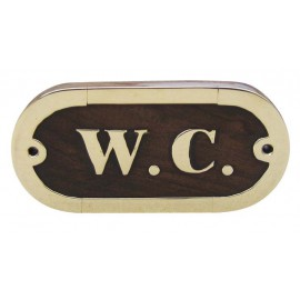 Door name plate - W.C., wood/brass, 10,5x5cm