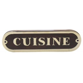 Door name plate - CUISINE, wood/brass, 18x5cm