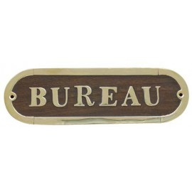 Door name plate - BUREAU, wood/brass, 17x5cm