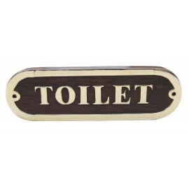 Door name plate - TOILET, wood/brass, 16,5x5cm