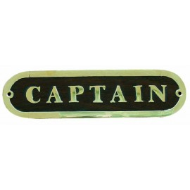 Door name plate - CAPTAIN, wood/brass, 19,5x5cm